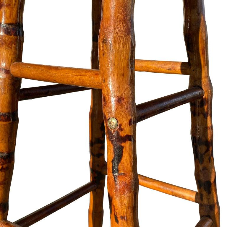 Mid-Century Modern Round Burnt Bamboo and Rattan Inlaid Barstool or Plant Stand For Sale