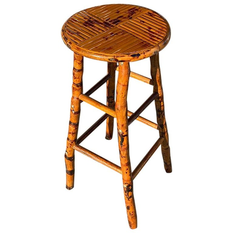 Round Burnt Bamboo and Rattan Inlaid Barstool or Plant Stand For Sale