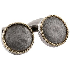 Round Cable Meteorite Cufflinks in Silver with 18 Karat Gold 'Limited Edition'