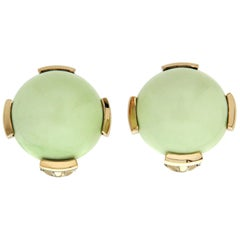 Round Cabochon Chrysoprase Gold Ear Clips
