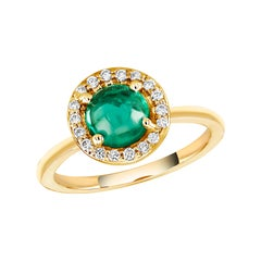 Round Cabochon Emerald and Diamond Cocktail Cluster Yellow Gold Ring