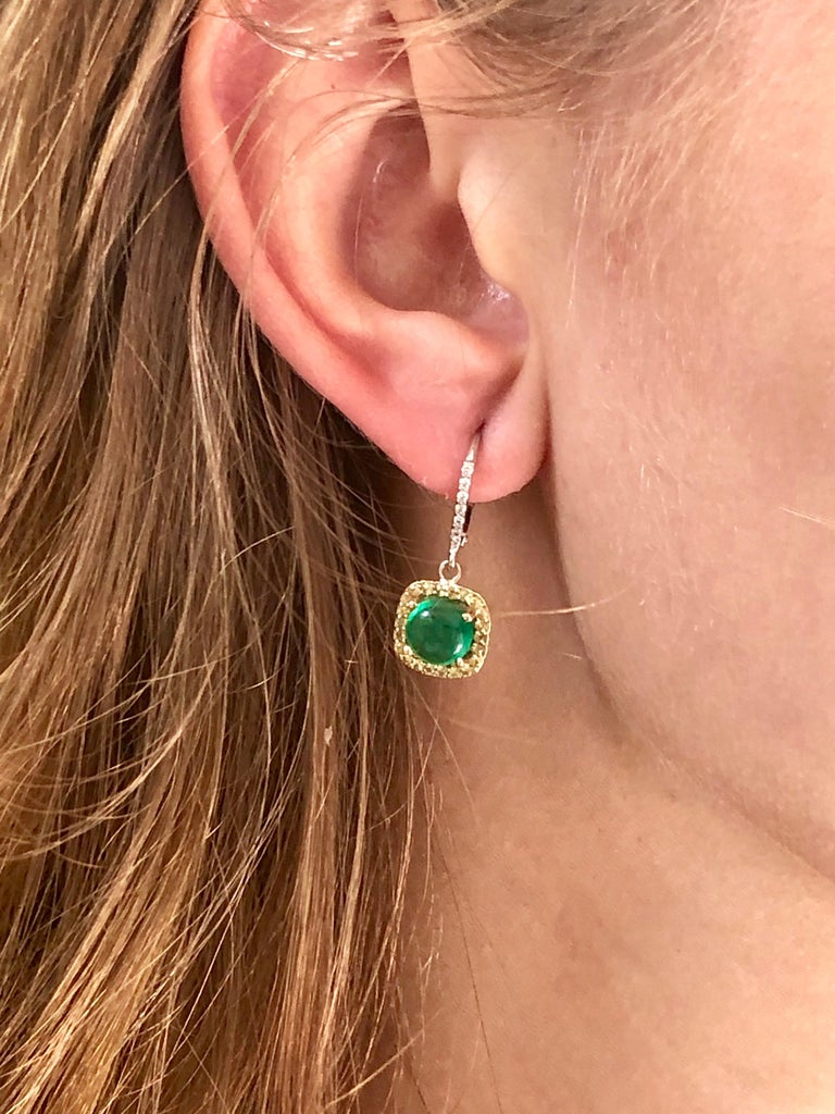Contemporary Round Cabochon Emerald and Diamond Drop Hoop Earrings For Sale