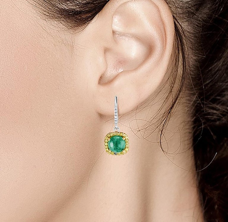 Round Cut Round Cabochon Emerald and Diamond Drop Hoop Earrings For Sale
