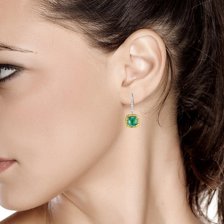 Women's Round Cabochon Emerald and Diamond Drop Hoop Earrings For Sale