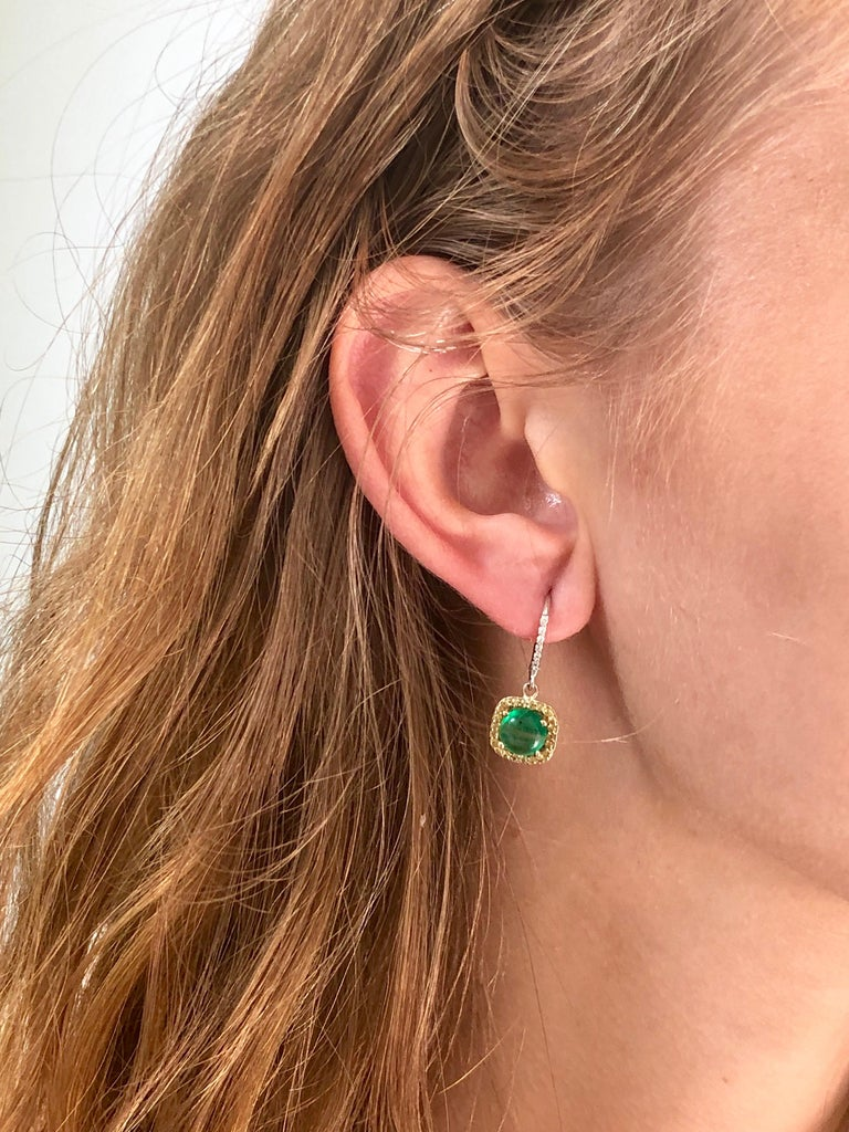 Round Cabochon Emerald and Diamond Drop Hoop Earrings In New Condition For Sale In New York, NY