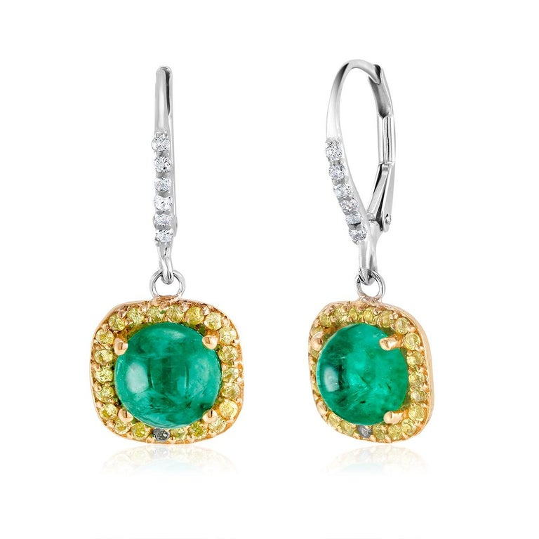 Round Cabochon Emerald and Diamond Drop Hoop Earrings For Sale 1
