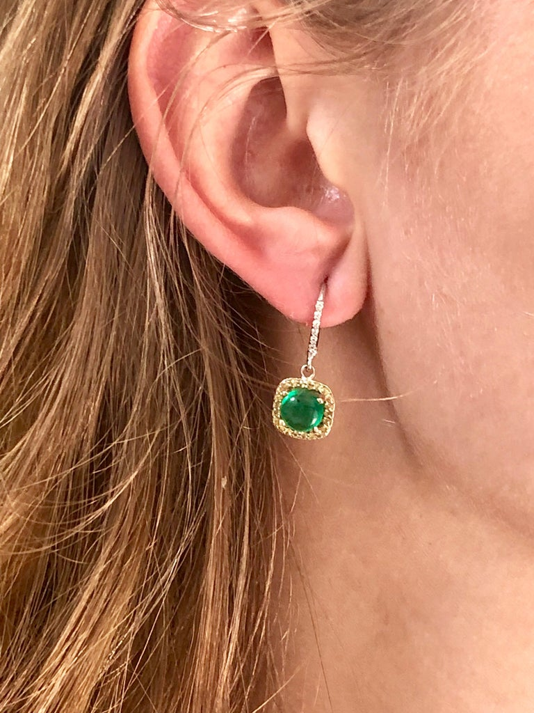 Round Cabochon Emerald and Diamond Drop Hoop Earrings For Sale 2