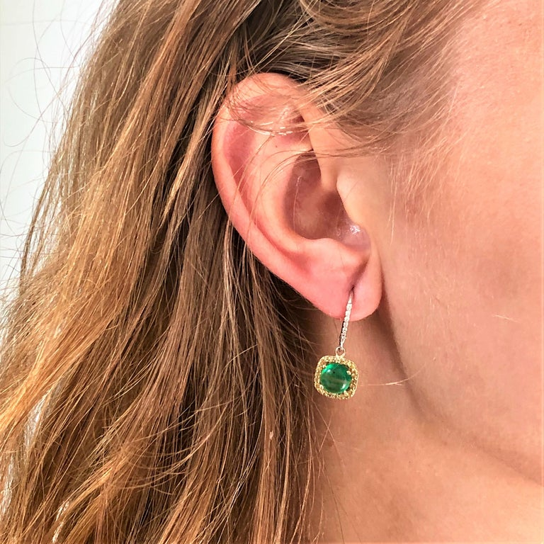 Round Cabochon Emerald and Diamond Drop Hoop Earrings For Sale 3