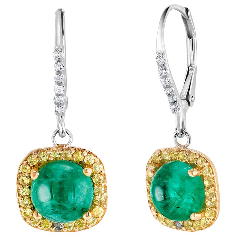 Round Cabochon Emerald and Diamond Drop Hoop Earrings For Sale