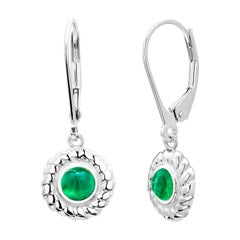 Round Cabochon Emerald Braided Bezel Set Lever Back Gold Hoop Earrings