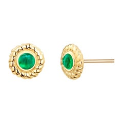 Round Cabochon Emerald Braided Bezel Set Stud Earrings