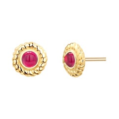 Round Cabochon Ruby Braided Bezel Set Stud Earrings