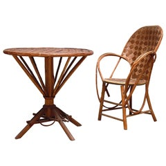 Round Cafe Table and Chair Set for Pascal Raffier Vannerie, France