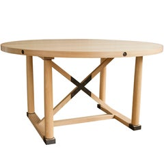 Carden Round Table, White Oak + Brass - handcrafted by Richard Wrightman Design