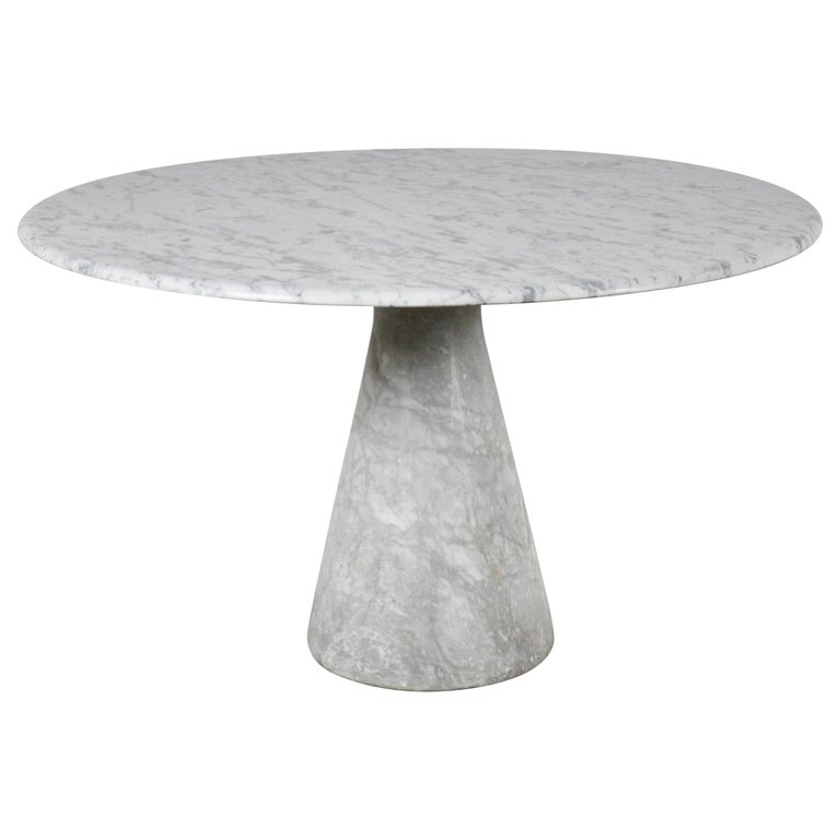 Round Carrara Marble Dining Table by Angelo Mangiarotti, 1970s For Sale