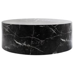 Round Carrera Marble Coffee Table in Black