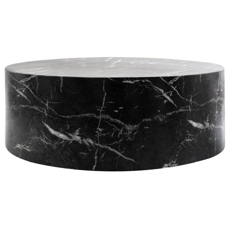 Round Carrera Marble Coffee Table In Black At 1stdibs