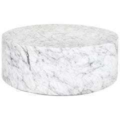 Round Carrera Marble Coffee Table in White