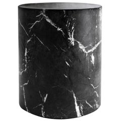 Round Carrera Marble Side Table in Black