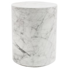 Round Carrera Marble Side Table in White