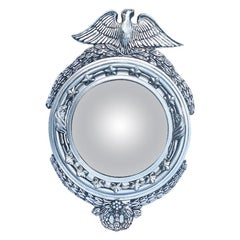 Round Carved Wood Silver Convex Federal Admiral Eagle Mirror