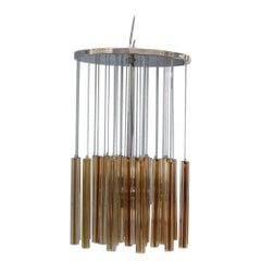 Round Cascade Italian Chandelier Venini Design 1960 Midcentury Steel Silver