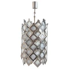 Round Ceiling Lamp Italian Design Steel Murano Glass Silver 1970 Pop Art