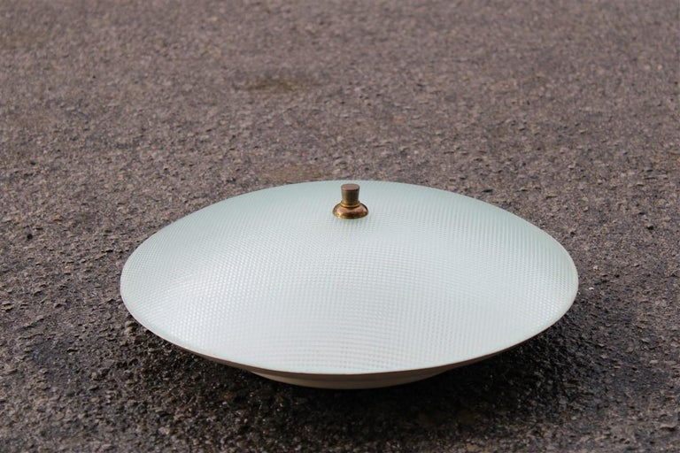 Round ceiling light metal lacquered curved glass Stilnovo design, midcentury.
