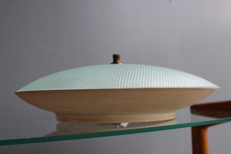 Round Ceiling Light Metal Lacquered Curved Glass Stilnovo Design, Midcentury In Good Condition For Sale In Palermo, Sicily