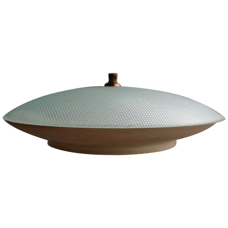 Round Ceiling Light Metal Lacquered Curved Glass Stilnovo Design, Midcentury For Sale