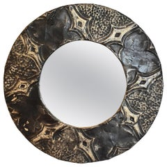 Round Ceiling Tin-Framed Wall Mirror