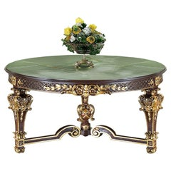 Round Center Table with Green Onyx Top and Walnut Finish by Modenese Luxury
