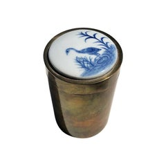 Round Brass Container with Removable Ceramic Painted Chinoiserie Crane Lid