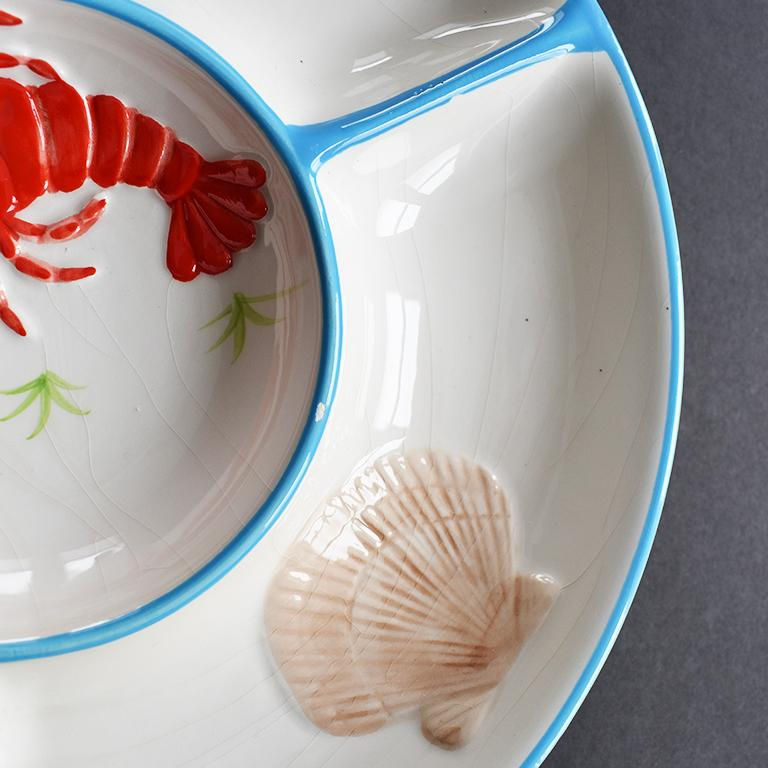 Mid-Century Modern Round Ceramic Beachside Motif Lobster Crudités Serving Platter For Sale
