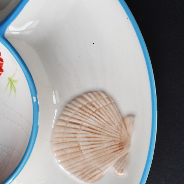 American Round Ceramic Beachside Motif Lobster Crudités Serving Platter For Sale