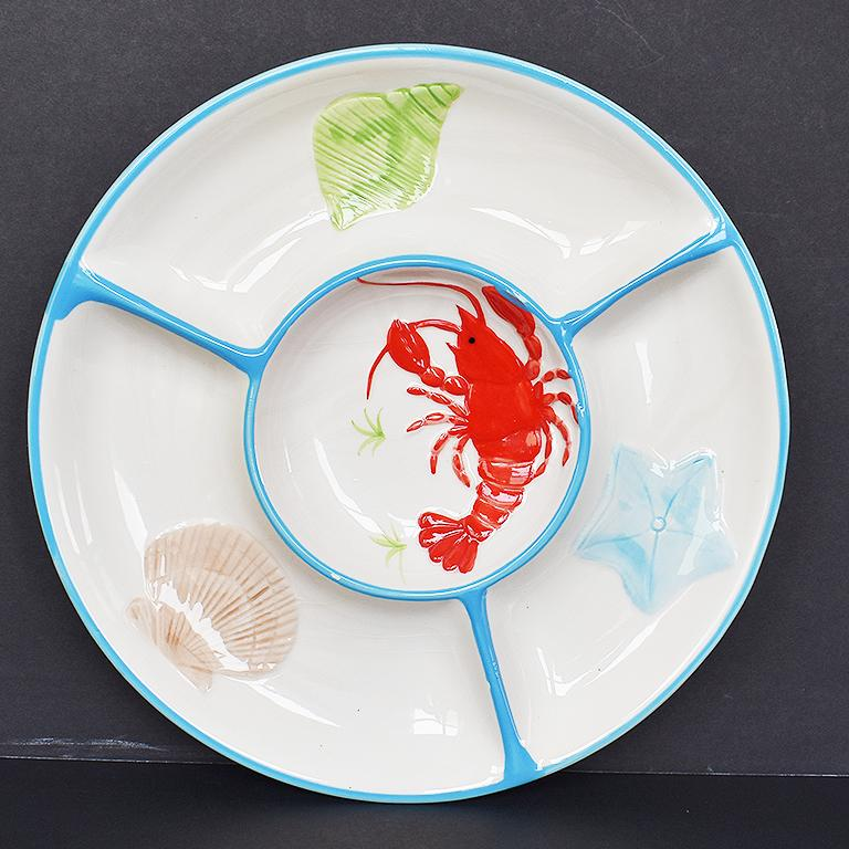 Round Ceramic Beachside Motif Lobster Crudités Serving Platter In Good Condition For Sale In Oklahoma City, OK