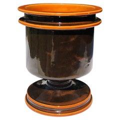 Round Ceramic Midcentury Vase by Raymor or Fantoni in Black and Orange Italy