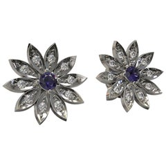 Round Ceylon Sapphire and Diamond Cluster Stud Earrings in 18 Carat White Gold
