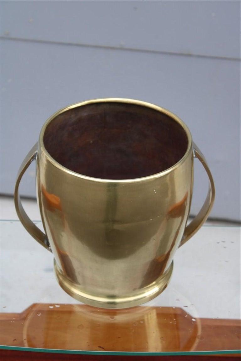Round champagne bucket Italian design brass gold, midcentury.