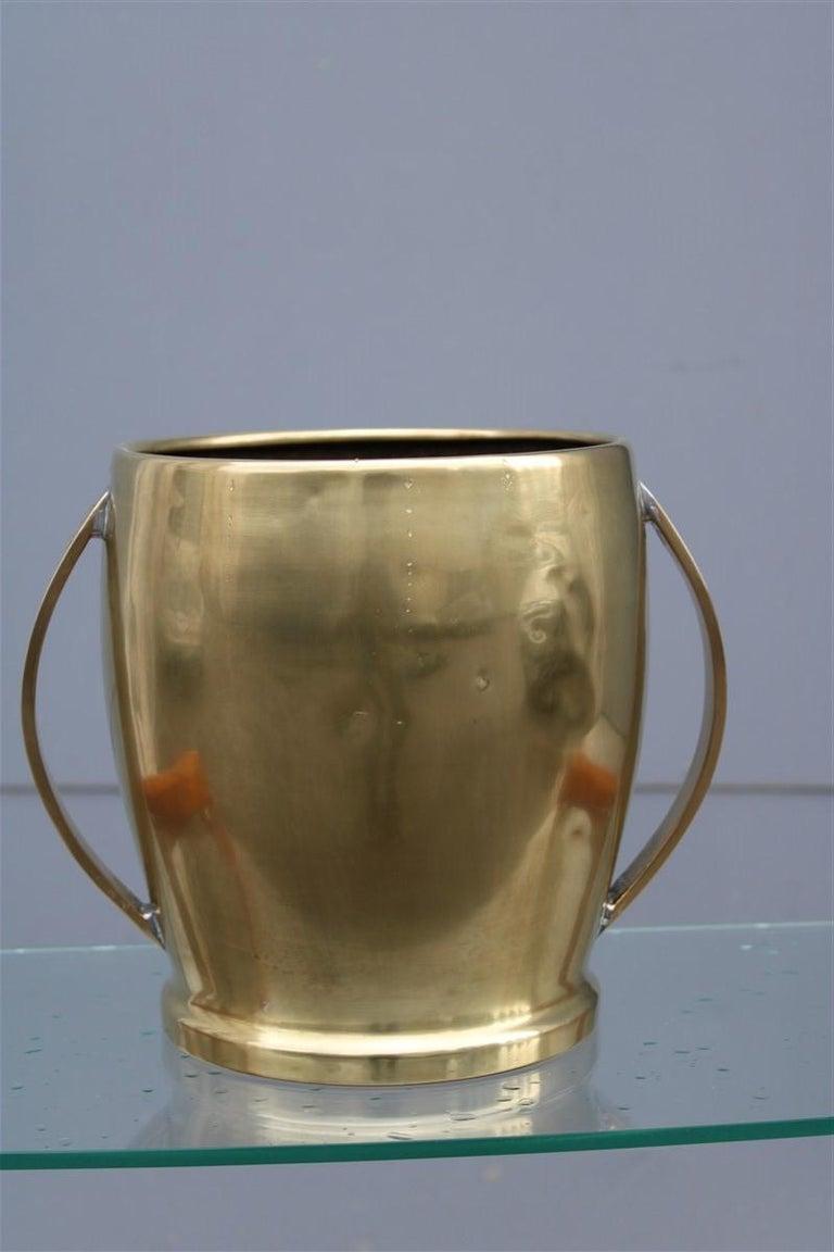 Mid-Century Modern Round Champagne Bucket Italian Design Brass Gold, Midcentury For Sale