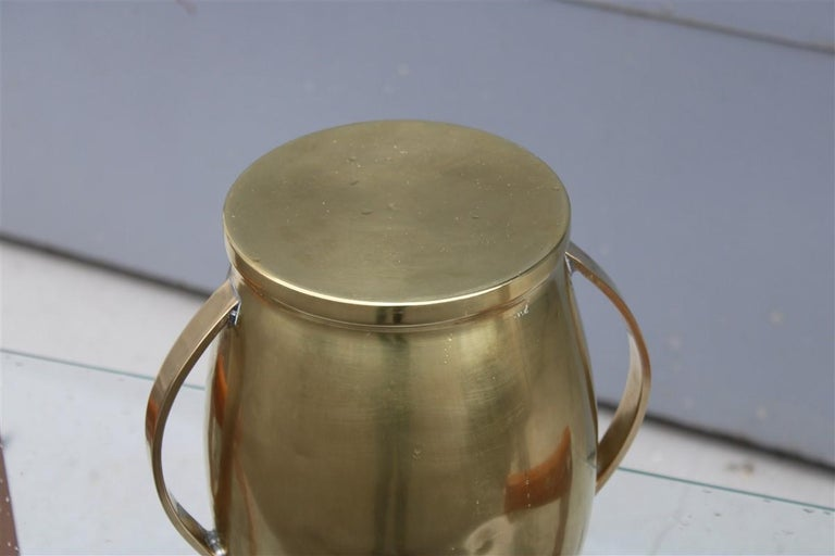 Round Champagne Bucket Italian Design Brass Gold, Midcentury In Good Condition For Sale In Palermo, Sicily