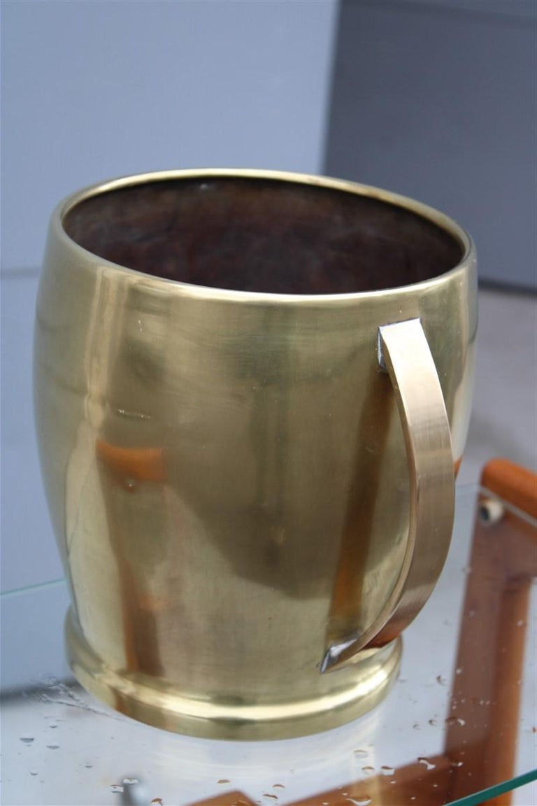 Mid-20th Century Round Champagne Bucket Italian Design Brass Gold, Midcentury For Sale