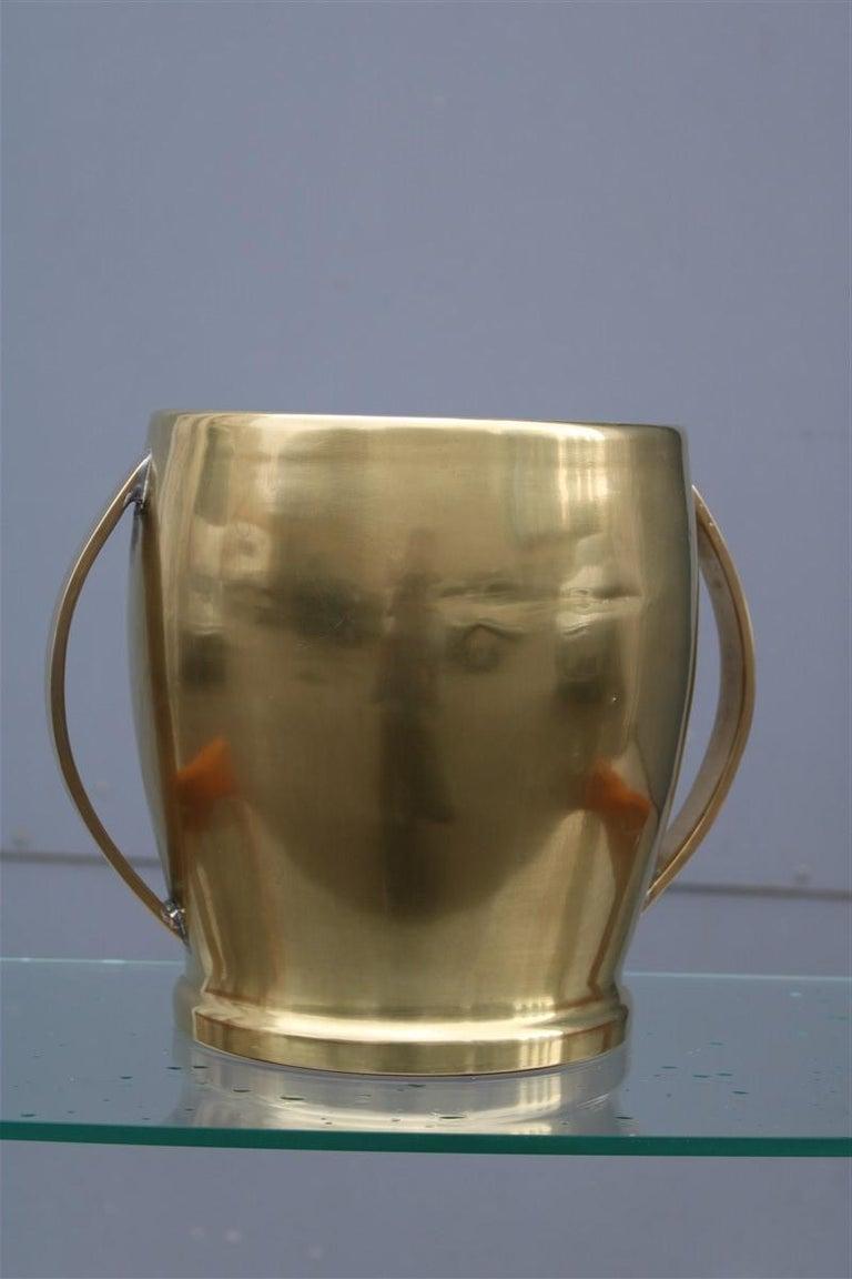 Round Champagne Bucket Italian Design Brass Gold, Midcentury For Sale 1