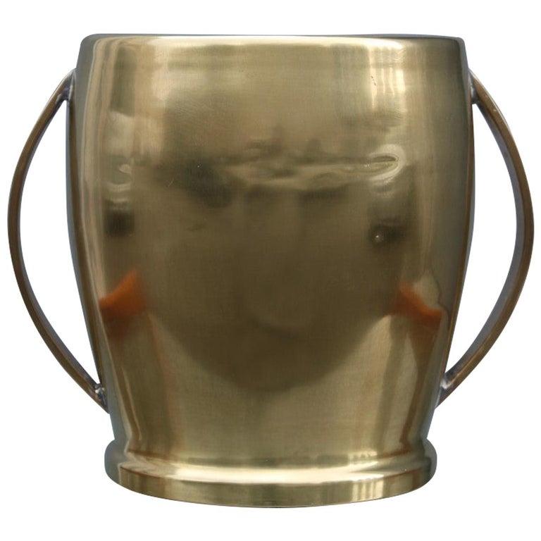 Round Champagne Bucket Italian Design Brass Gold, Midcentury For Sale