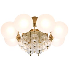 Round Chandelier in Frosted Glass and Brass