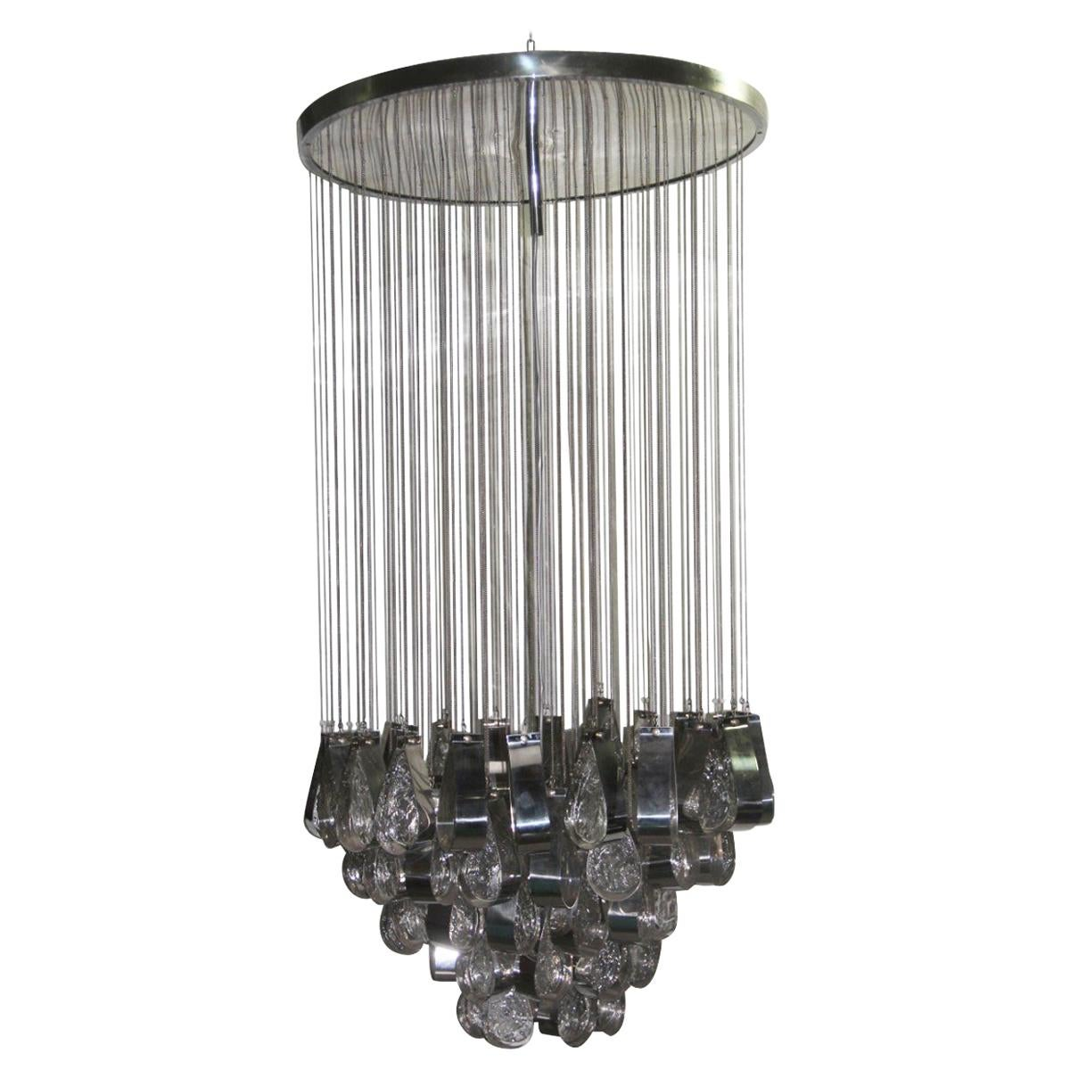 Round Chandelier Waterfall  Drops Steel Glass with Chains Murano Glass, Italy