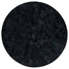 Round Charcoal Customizable Round Trilogia Cowhide Area Rug Medium