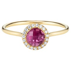 Round Checkerboard Pink Tourmaline Halo Ring 18 Karat Yellow Gold