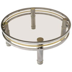 Round Chrome Brass Smoked Glass Mid-Century Modern Coffee Table