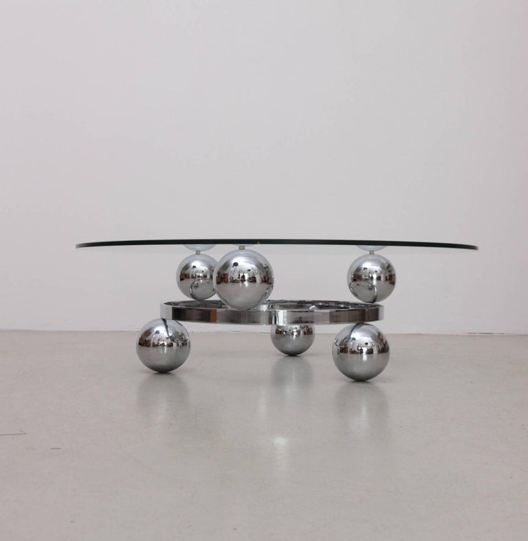 French Round Chrome Sputnik Atomic Coffee Table with Glass Top For Sale